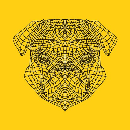 Framed Pug Head Yellow Mesh Print