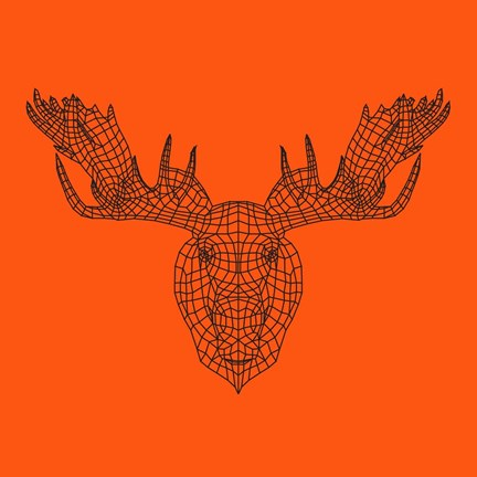 Framed Moose Head Orange Mesh Print