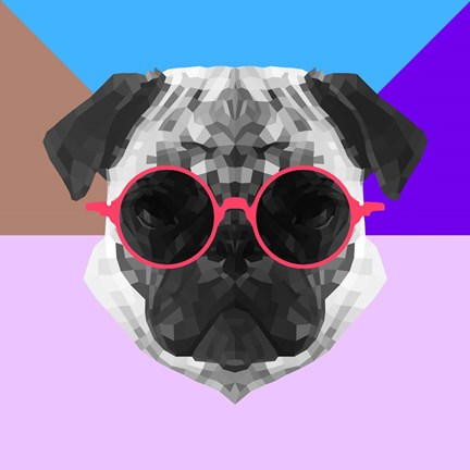 Framed Party Pug in Pink Glasses Print