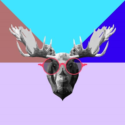 Framed Party Moose in Glasses Print