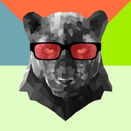 Framed Party Panther in Red Glasses Print