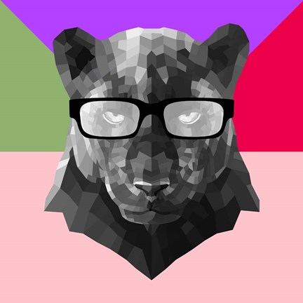 Framed Party Panther in Glasses Print