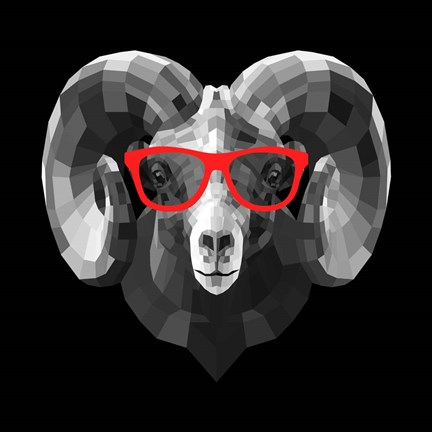 Framed Ram in Red Glasses Print