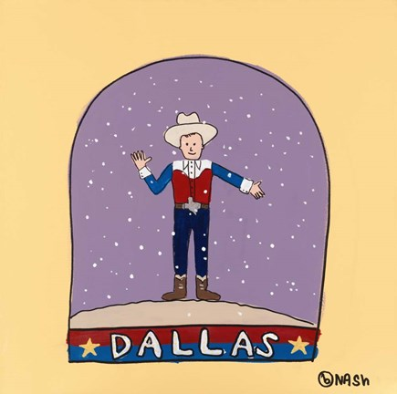 Framed Dallas Snow Globe Print
