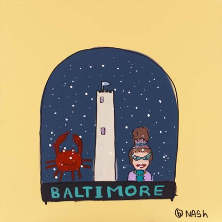 Framed Baltimore Snow Globe Print