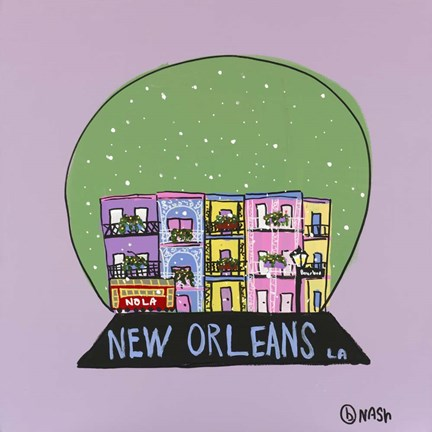 Framed New Orleans Snow Globe Print