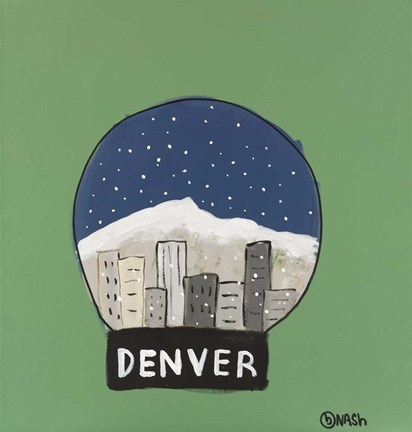 Framed Denver Snow Globe Print