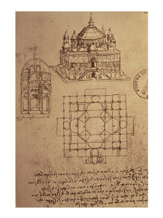Framed Sketch of a Square Church with Central Dome & Minaret Print