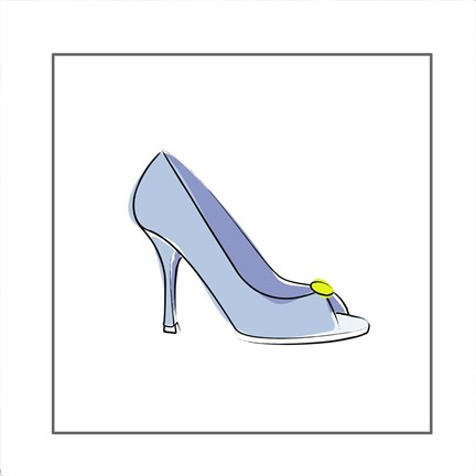 Framed Blue High Heel Shoe Print