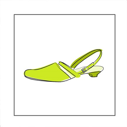 Framed Green Sandal 1 Print