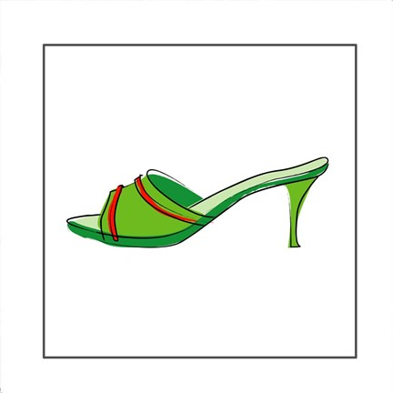 Framed Green Sandal 2 Print