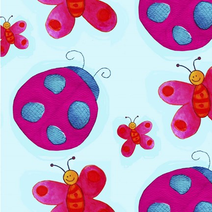 Framed Ladybugs and Butterflies Print