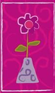 Red Flower in Purple Pot  Fine Art Print