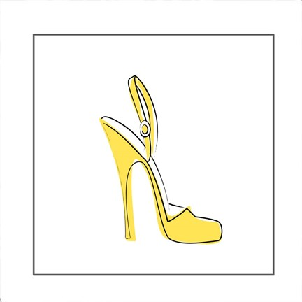Framed Yellow High Heel Sandal Print
