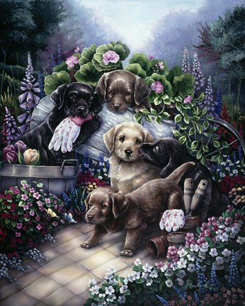 Framed Gardening Puppies Print