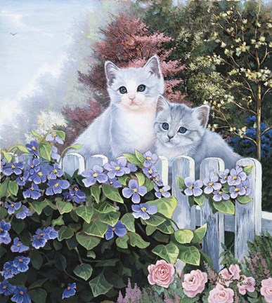 Framed Kittens In The Master's Garden Print