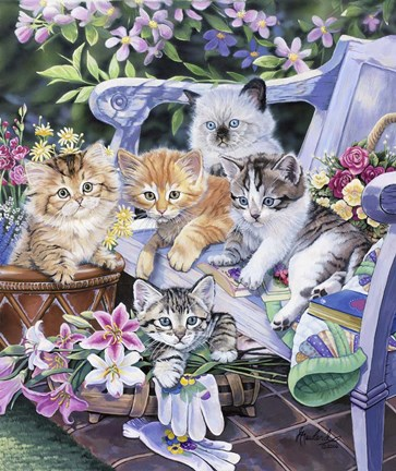 Framed Purfect Gardening Buddies Print