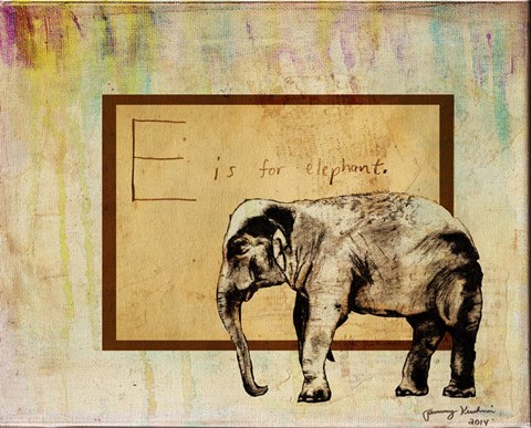 Framed E is For Elephant Print