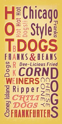 Framed Hot Dogs Words Print