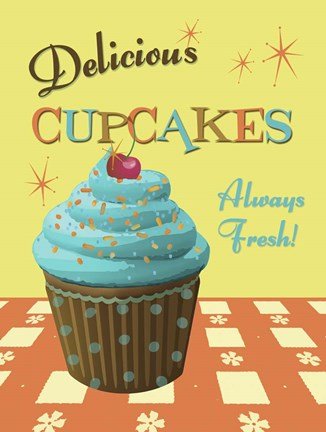 Framed Cupcakes Delicious Print