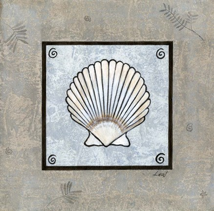 Framed Sea Shell on Blue III Print