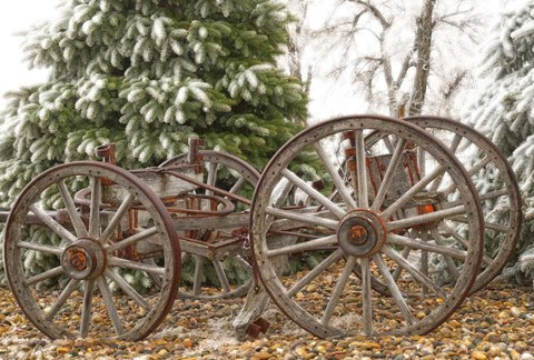 Framed Wagon in Winter Print