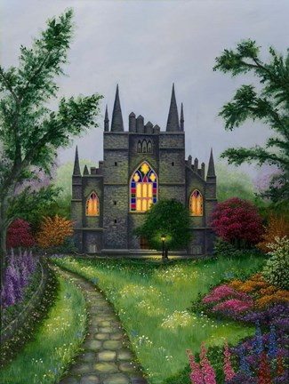 Framed Church Garden Print