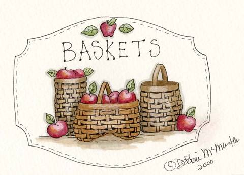 Framed 3 Baskets Print