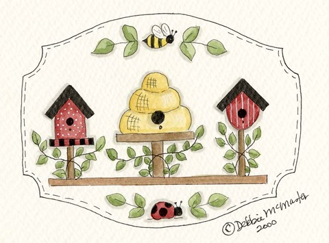 Framed Beehive With Birdhouse Print