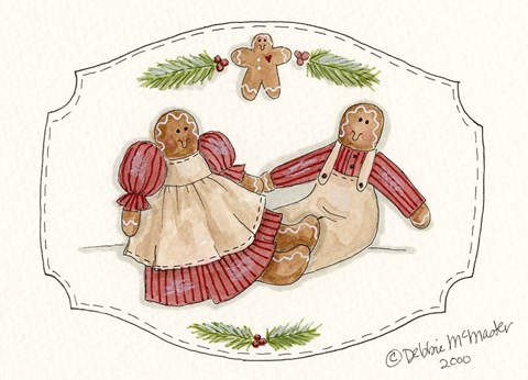 Framed Gingerbread Couple Print