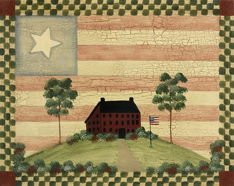 Framed Red House With Flag Print