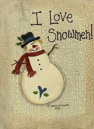 Framed I Love Snowmen Print