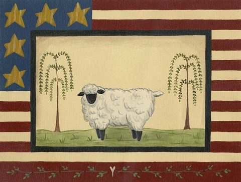 Framed Sheep With Flag Border Print