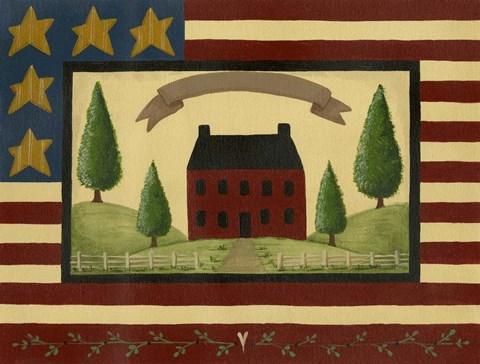 Framed Red House With Flag Border Print