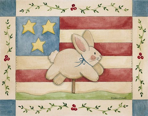 Framed Bunny With Flag Background Print