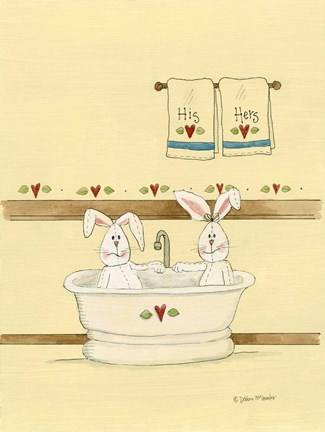 Framed His & Her Bunnies In Tub Print