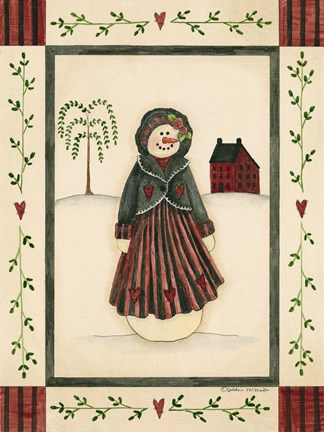 Framed Black & Red Snowwoman With Red House Print