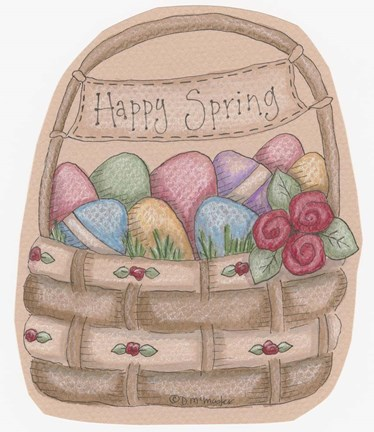 Framed Happy Spring Basket Print