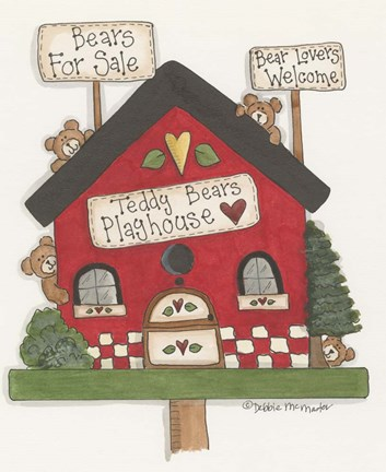 Framed Teddy Bears Playhouse Print