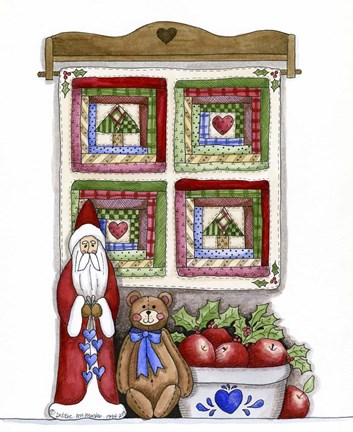 Framed Santa With Bear & Quilt Print
