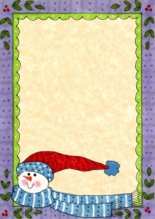 Framed Bright Snowman W/Purple Border Print