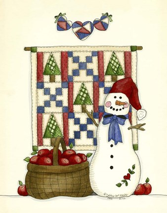 Framed Snowman With Guilt & Apples Print