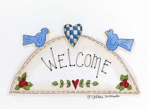 Framed Welcome With 2 Birds Print