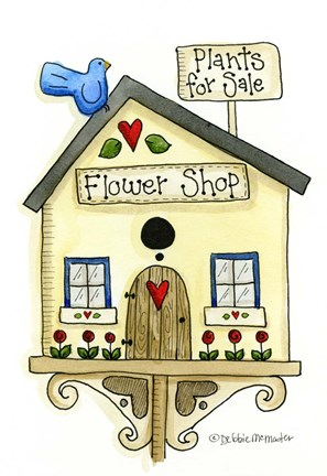 Framed Flower Shop Birdhouse Print