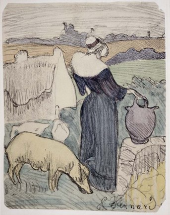 Framed Breton Woman on her Farm in Pont-Aven Print