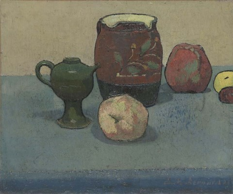 Framed Stoneware Pot and Apples, 1887 Print