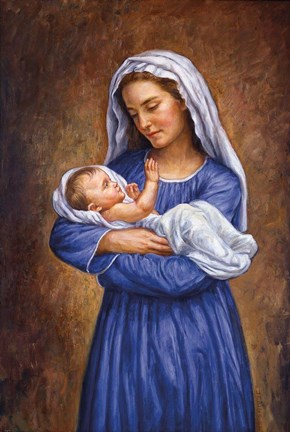 Mary And Baby Jesus Fine Art Print By Edgar Jerins At