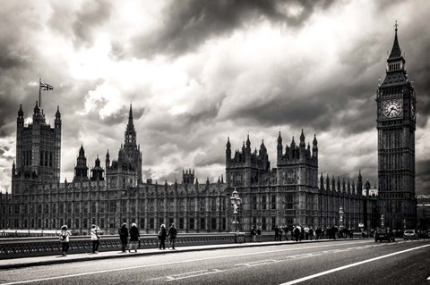 Framed Houses of Parliament B/W Print