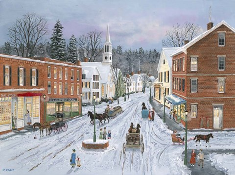 Framed Main Street in Winter Print