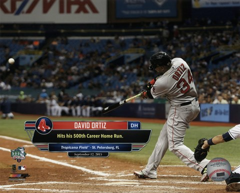 Framed David Ortiz hits his 500th career MLB home run on September 12, 2015 at Tropicana Field Print